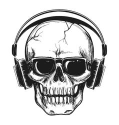 Human skull with headphones vector image vector image
