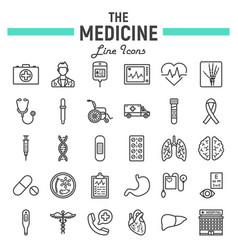 medicine line icon set medical symbols collection vector image