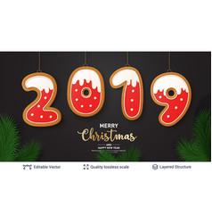 2019 number of gingerbread cookies on dark banner vector image