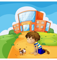 A little boy and his pet near the school vector