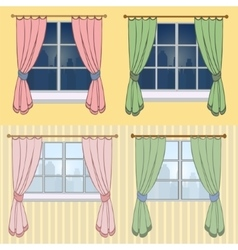 A set of curtains with a beautiful view from vector
