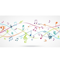Abstract Background with Colorful Music notes vector