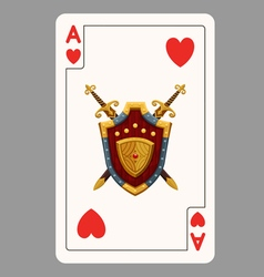 Ace of hearts playing card vector