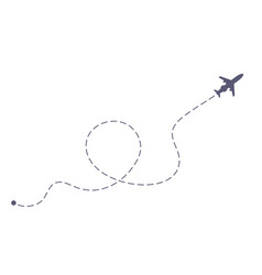 Airplane flight dashing line airlines plane line vector