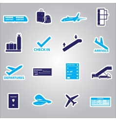 airport stickers set eps10 vector image