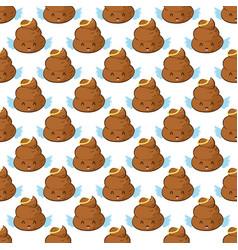 Angel poop emoji seamless pattern vector