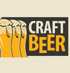 banner for craft beer with three beer glasses vector image