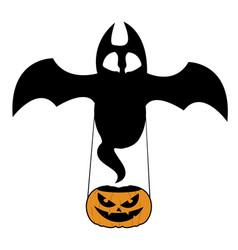 bat with pumpkin vector image