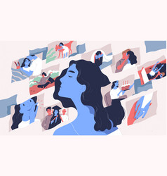 Beautiful young woman and scenes from her life vector