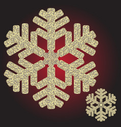 Big golden iridescent christmas snowflake vector