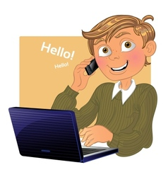 Blond boy with phone and laptop vector