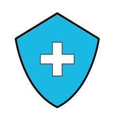 Blue medical shield cartoon vector