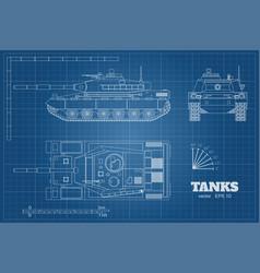 Blueprint realistic tank vector