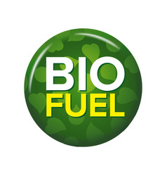 Bright green round button with words bio fuel vector