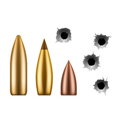 bullets and bullet holes circle hole in vector image
