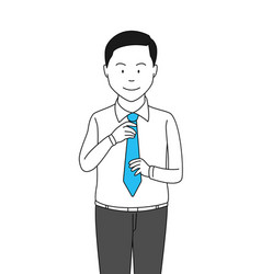 businessman adjusting necktie vector image