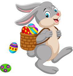 cartoon easter bunny carrying basket of an easter vector image
