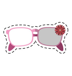 Cartoon female glasses flower decorative vector