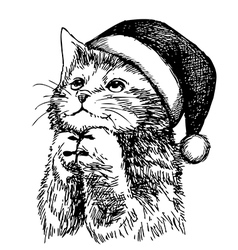 Christmas cat pet vector