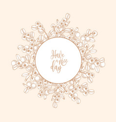 circular backdrop or wreath made of lingonberries vector image