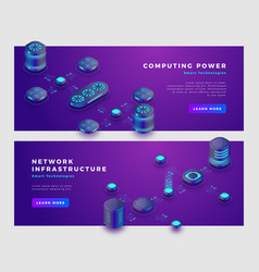 computing power and database concept banner vector image