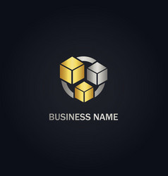 cube colored box company gold logo vector image