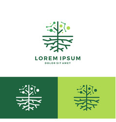Digital tree and root logo vector