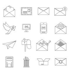 Email icons set outline ctyle vector image