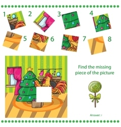 Find missing piece - Cartoon cock with tree vector