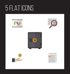 Flat gain set of scan document hand with coin vector