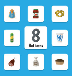 Flat icon eating set of ketchup spaghetti cookie vector
