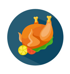 Flat style baked chicken icon vector