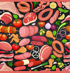 Gastronomic meat products seamless pattern vector