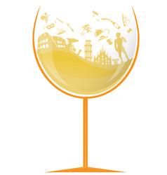 Glass italian white wine with symbol element vector