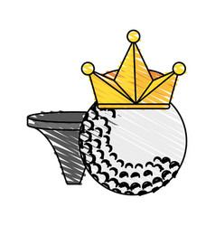 golf ball with crown and tee icon imag vector image
