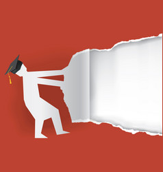 graduate torn red paper background vector image