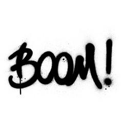 Graffiti boom word sprayed in black over white vector