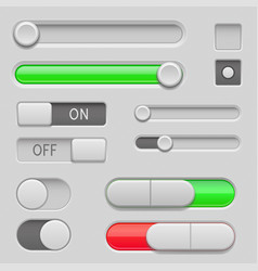 gray web buttons push buttons and sliders vector image