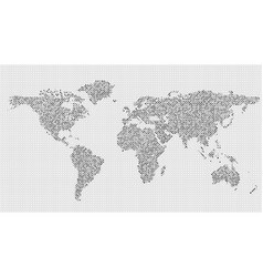 halftone world map background - circle pattern vector image