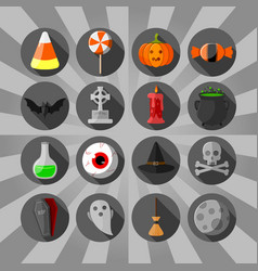 halloween circle flat icons set black background vector image