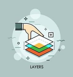 Hand holding three translucent layers layered vector