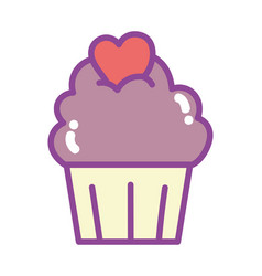 happy valentines day sweet cupcake with heart vector image