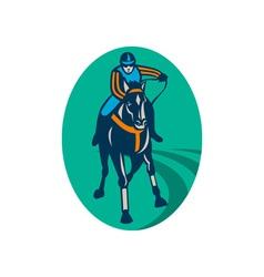 Horse and jockey racing race track vector image