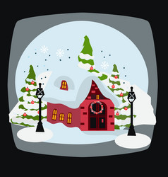 house with christmas decoration holiday season vector image