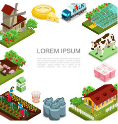 isometric agriculture and farming template vector image