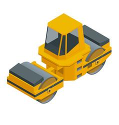Isometric asphalt paver orange color rolls vector