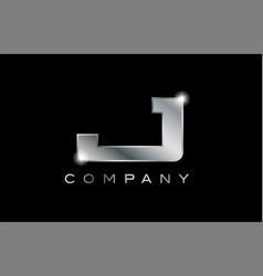 J silver metal letter company design logo vector