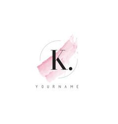 K letter logo with pastel watercolor aquarella vector