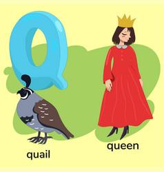 Letter q children s alphabet vector