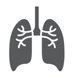 Lungs glyph icon anatomy and biology pulmonology vector